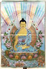 Exquisite Tibet Cloth Silk Sakyamuni Amitabha Buddha Tangka Thangka Painting K2
