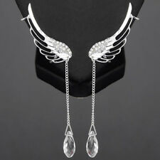 Tone Crystal Glass Teardrop Tassel W/Cl Sexy Sparkles Angel Wing Earrings Silver