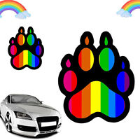 Gay Pride Rainbow Paw LGBT Bear Dog Pet Car Bumper Vinyl Sticker Decal Dwyx