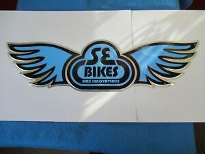 """SE Bike Wing Di-Cut Embossed Aluminum Metal Wall Sign 30-1/2"""" Blue/Black/Silver"""