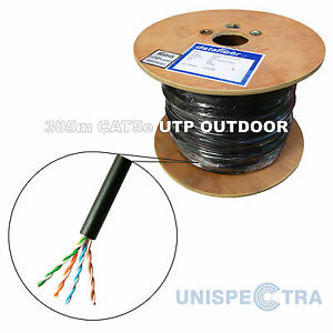 305m CAT5e OUTDOOR Network Cable External BLACK - SOLID COPPER