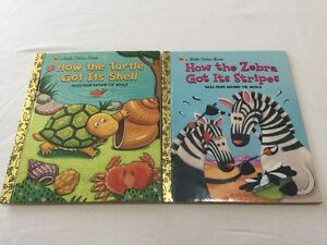 How Turtle Got It's Shell / How Zebra Got It's Stripes 2 Golden Books EXCon HC