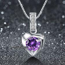 925er Silber Violetter Kristall diamant-halskette - Weihnachten Valentinstag
