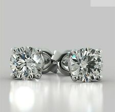 Earrings Stud Solid 14K White Gold Brilliant Round 2.00 Carat Solitaire Diamond
