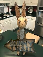 "Large Primitive Style Tree Branch Bunny Rabbit Sculpture Figure & Sign 25"" Tall"