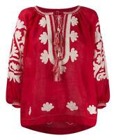 Embroidered red blouse boho style - folk ukrainian ethnic vyshyvanka. All sizes