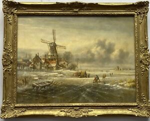 LATE 20TH CENTURY ANTIQUE STYLE OIL PAINTING ON CANVAS DUTCH WINTER LANDSCAPE