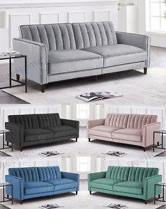 Velvet Sofa Bed Convertible Recliner Adjustable Back Thick Cushions 3 Seater
