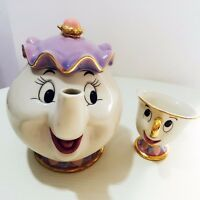 Cartoon Beauty And The Beast Teapot Mug Mrs Potts Chip Tea Pot Cup Set Gift