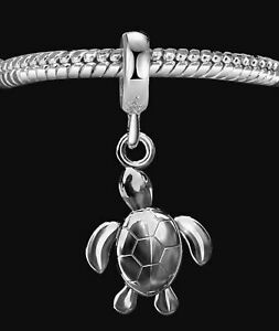 Turtle charm bead pendant for charms bracelet or necklace A8B Solid Silver 925