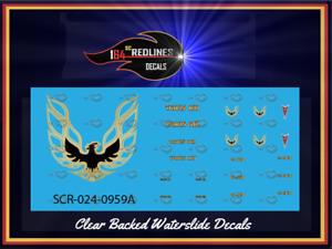 """1/24 '77 Firebird Trans Am """"Gold"""" Decal Set SCR-124-0959A"""
