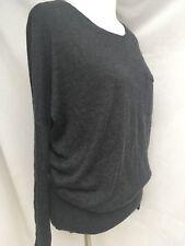 $300+ VINCE CASHMERE/ Silk BATWING GRAY Crew NECK Tight Knit SWEATER  SZ M- Euc