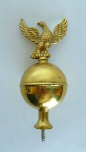 "Eagle Bird Brass Metal 5"" Ball Topper Headboard Furniture Flag Pole Ornament"