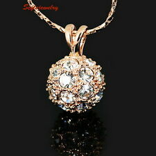 Rose Gold Plated Crystals Ball Rhinestone Wedding Bridal Necklace N138