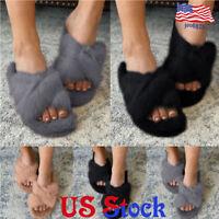 Women Comfort Crisscross Slippers Solid Color Peep Toe Slip On Fluffy Flat Shoes