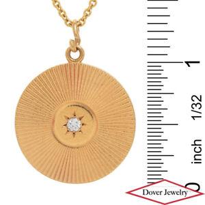 Tiffany & Co Vintage Diamond 14K Gold Elegant Starburst Pendant 8.8 Grams NR