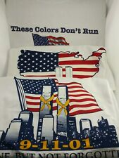 VINTAGE FRUIT OF THE LOOM  9/11/01 LARGE T-SHIRT 3 different designs.  lot of 3