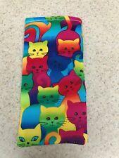 Eyeglass / Sunglass Soft Fabric Case - Bright Colored Kitty Cats - Summer!