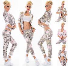 ITALIEN Damen Jeans Hose o. Jacke Blazer Stretch Camouflage Rosen Blumen Print