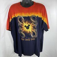 Vintage Walt Disney World Dragons Mickey Mouse Tie Dye Fire T Shirt Mens XXL
