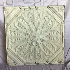 """1890's 24"""" x 24"""" Antique Reclaimed Tin Ceiling Tile Green 498-17 Anniversary"""