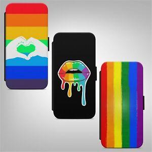 LGBT Rainbow Flag Gay Pride Lips Lesbian WALLET FLIP PHONE CASE COVER