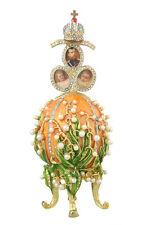Faberge Egg Music Box Flowers & Russian Emperor Crown photo frames 6.3'' orange