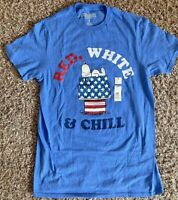 """PEANUTS Charlie Brown Snoopy """"Red, White & Chill"""" Blue T-Shirt (Unisex Size S)"""