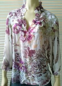 SEVEN SISTERS ladies size 7 top sheer floral blouse