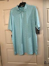 Nike TW Tiger Woods Golf Polo Dri Fit Blue Striped Mens XL Shirt Bq6722 431
