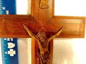 CRUCIFIX Vintage Copper colored Metal Wood Cross Jesus Corpus Religious