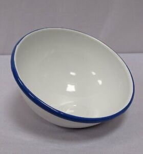 Enamel Snack Dish, Fruit Bowl With Geneigter Opening, White Blue Edge 8 5/16in