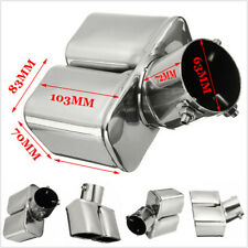"""63mm 2.5"""" Stainless Steel Bent Inlet Car Dual Tail Rear Pipe Tip Muffler Cover"""