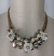 Gemma Layne Ivory Gold Rhinestone Flower Bride Statement Necklace $68 NEW