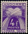 "ANDORRE FRANCAIS STAMP TIMBRE TAXE 36 "" GERBES 4F "" NEUF x TB"