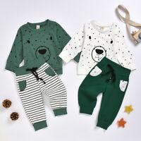 Toddler Kids Baby Boys Cartoon Bear Sweatshirt Tops+ Pants Outfits Set Tracksuit