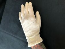 Vintage Gloves White with Pearls Stretchy 50s Wrist Length Elastane 6 MCM Pinup