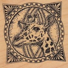 "giraffe frame taylored Wood Mounted Rubber Stamp 2 x 2""  Free Shipping"