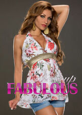 Halter Hand-wash Only Floral Sleeve Tops & Blouses for Women