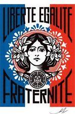 Shepard Fairey - Liberte,... (f.blanc) Ed.300 Printed Signatur Ed.num pencil Fra