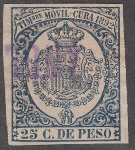 Spain Caribbean Island Colony Timbre Movil Revenue Forbin #11 used 25c 1892
