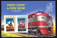 2017 Australia Perth Stamp & Coins Show Imperforate Minisheet Stamps & Logo MNH