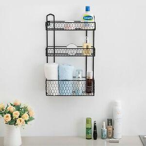 3-Tier Rustic Chicken Wire Wall Hanging Bathroom Organizer Shelf Storage Rack