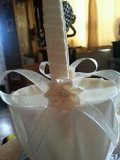 Pretty Champagne & ivory flowergirl basket