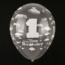 20X Clear Cloud White Latex Transparent Balloons 1st First Birthday Party Decor
