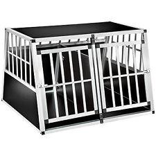 XXL Transportín doble con pared divisoria para perros aluminio trapezoidal nuevo