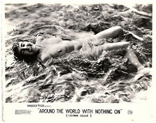 Around the World with Nothing On 1961 lobby card nudist movie girl in water