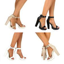 Zapatos de tacón de mujer de color principal blanco de piel sintética