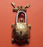 Vintage Turtle Tortoise Door LOCK Padlock brass keys antique Pad Vintage lion
