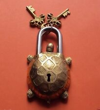 Vintage Turtle Tortoise Door LOCK Padlock brass keys antique Pad Vintage lion